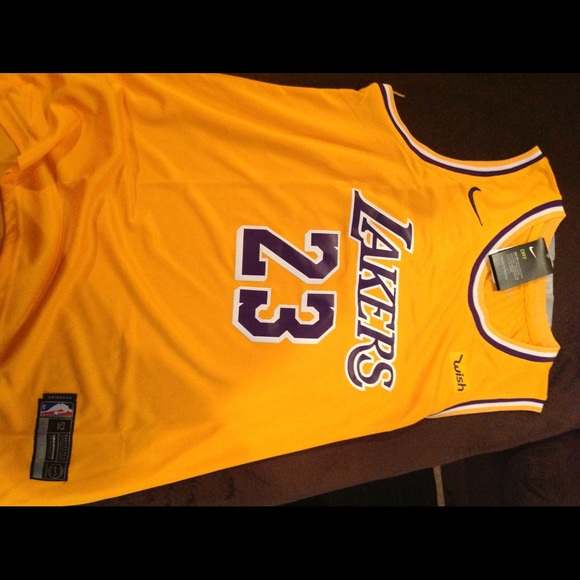 hot sale online 4d656 dc550 Gold and Purple Lebron James Laker Jersey stitched NWT